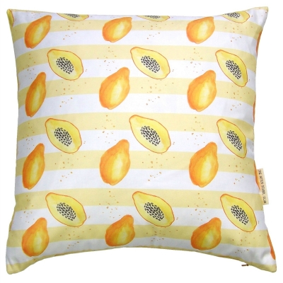 Papaya stripe cushion -  Papaya print Luxury cushion -   Yellow and White -   50cm x 50cm -   100% Cotton -   Duck Feather Filling -   Hand Painted Design -   Concealed Zip -   Made in Great Britain -