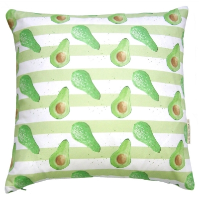 Avocado stripe cushion -  Avocado print Luxury cushion -   Green and White -   50cm x 50cm -   100% Cotton -   Duck Feather Filling -   Hand Painted Design -   Concealed Zip -   Made in Great Britain -