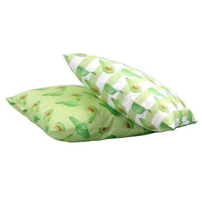 Avocado cushion -  Avocado print luxury cushion -   Green -   50cm x 50cm -   100% Cotton -   Duck Feather Filling -   Hand Painted Design -   Concealed Zip -   Made in Great Britain -