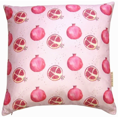 Pomegranate cushion -  Pomegranate print Luxury cushion -   Pink -   50cm x 50cm -   100% Cotton -   Duck Feather Filling -   Hand Painted Design -   Concealed Zip -   Made in Great Britain -