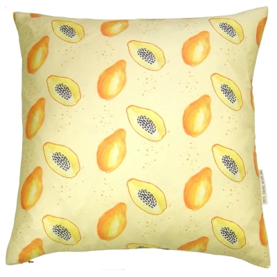 Papaya cushion  Papaya print Luxury cushion -   Yellow -   50cm x 50cm -   100% Cotton -   Duck Feather Filling -   Hand Painted Design -   Concealed Zip -   Made in Great Britain -
