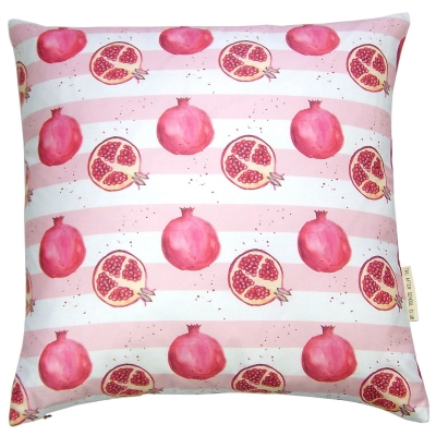 Pomegranate stripe cushion -  Pomegranate print Luxury cushion -   Pink and White -   50cm x 50cm -   100% Cotton -   Duck Feather Filling -   Hand Painted Design -   Concealed Zip -   Made in Great Britain -