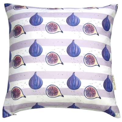 Fig stripe cushion -  Fig print Luxury cushion -   Purple and White -   50cm x 50cm -   100% Cotton -   Duck Feather Filling -   Hand Painted Design -   Concealed Zip -   Made in Great Britain -