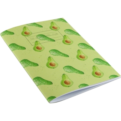 Avocado notebook  Avocado print notebook,   Green,   A5,   Paperback Stapled,   Plain Paper Pages,   Cover - 100% Recycled Fibres,   Hand Painted Design,   Made in Great Britain,