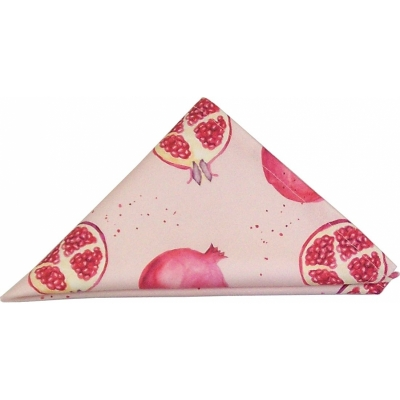 Pomegranate napkin -  Pomegranate print Luxury Napkin -   Pink -   38cm x 38cm -   100% Cotton -   Hand Painted Design -   Made in Great Britain -