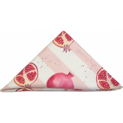 Pomegranate stripe napkin  Pomegranate print Luxury Napkin -   Pink and White -   38cm x 38cm -   100% Cotton -   Hand Painted Design -   Made in Great Britain -