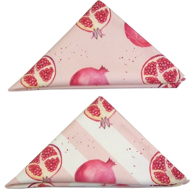 Pomegranate stripe napkin  Pomegranate print Luxury Napkin,   Pink and White,   38cm x 38cm,   100% Cotton,   Hand Painted Design,   Made in Great Britain,