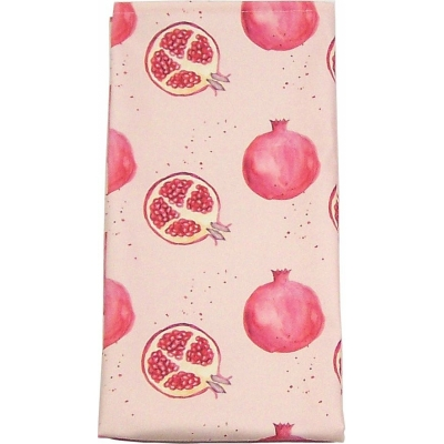 Pomegranate Tea Towel -  Pomegranate print Luxury Tea Towel -   Pink -   50cm x 70cm -   100% Cotton -   Hand Painted Design -   Made in Great Britain -