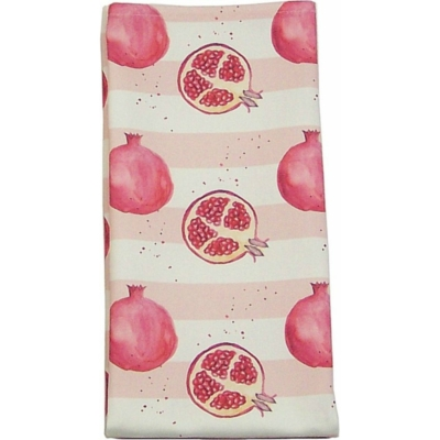 Pomegranate Stripe Tea Towel -  Pomegranate print Luxury Tea Towel -   Pink and White -   50cm x 70cm -   100% Cotton -   Hand Painted Design -   Made in Great Britain -