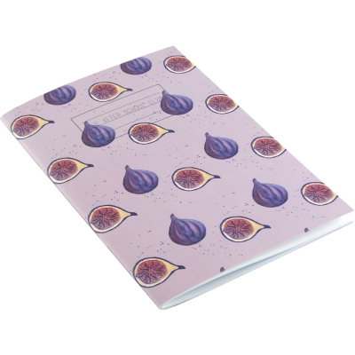 Fig Notebook  Fig print notebook -   Purple -   A5 -   Paperback Stapled -   Plain Paper Pages -   Cover - 100% Recycled Fibres -   Hand Painted Design -   Made in Great Britain -