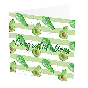 "Congratulations Card Papaya  Congratulations Card with Papaya design,   Yellow and White,   Blank inside,   6""x6"",   100% recycled card,   Brown envelope included,   Hand painted design,   Made in Great Britain,"