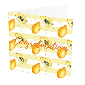 "Thank You Card Papaya  Thank You Card with Papaya design,   Yellow and White,   Blank inside,   6""x6"",   100% recycled card,   Brown envelope included,   Hand painted design,   Made in Great Britain,"