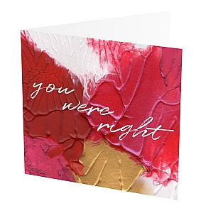 "You Glow! Card  You Glow Card,   Red, Pink and Gold,   Blank inside,   6""x6"",   100% recycled card,   Brown envelope included,   Hand painted design,   Made in Great Britain,"
