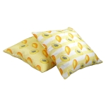 Papaya cushion  Papaya print Luxury cushion,   Yellow,   50cm x 50cm,   100% Cotton,   Duck Feather Filling,   Hand Painted Design,   Concealed Zip,   Made in Great Britain,