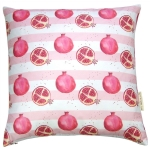 Pomegranate stripe cushion  Pomegranate print Luxury cushion,   Pink and White,   50cm x 50cm,   100% Cotton,   Duck Feather Filling,   Hand Painted Design,   Concealed Zip,   Made in Great Britain,