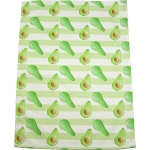 Avocado Stripe Tea Towel -  Avocado print Luxury Tea Towel -   Green and White -   50cm x 70cm -   100% Cotton -   Hand Painted Design -   Made in Great Britain -
