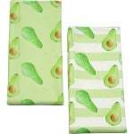 Avocado Stripe Tea Towel  Avocado print Luxury Tea Towel,   Green and White,   50cm x 70cm,   100% Cotton,   Hand Painted Design,   Made in Great Britain,