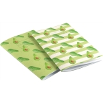 Avocado Stripe Notebook  Avocado print notebook,   Green and White,   A5,   Paperback Stapled,   Lined Paper Pages,   Cover - 100% Recycled Fibres,   Hand Painted Design,   Made in Great Britain,