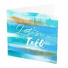 "Let`s Talk Card -  Let`s Talk Card -   Blue and Gold -   Blank inside -   6""x6"" -   100% recycled card -   Brown envelope included -   Hand painted design -   Made in Great Britain -"