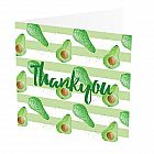 "Thank You Card Avocado -  Thank You Card with Avocado design -   Green and White -   Blank inside -   6""x6"" -   100% recycled card -   Brown envelope included -   Hand painted design -   Made in Great Britain -"