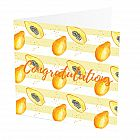 "Congratulations Card Papaya -  Congratulations Card with Papaya design -   Yellow and White -   Blank inside -   6""x6"" -   100% recycled card -   Brown envelope included -   Hand painted design -   Made in Great Britain -"